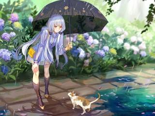 Собирать пазл Девушка и кошка онлайн