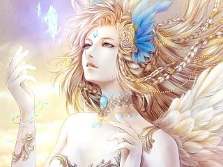 Собирать пазл Девушка и кристалл онлайн