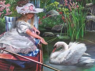 Собирать пазл Девушка и лебедь онлайн