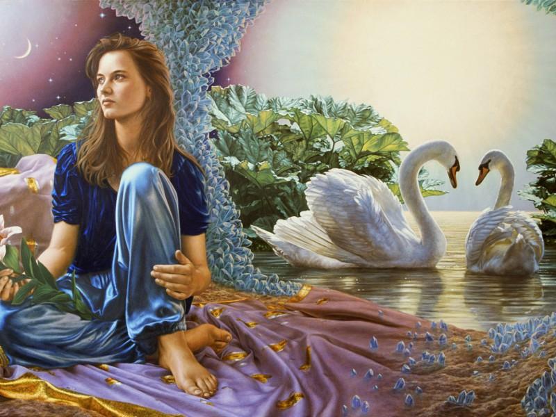 Пазл Собирать пазлы онлайн - Девушка и лебеди