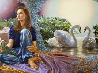 Собирать пазл Девушка и лебеди онлайн