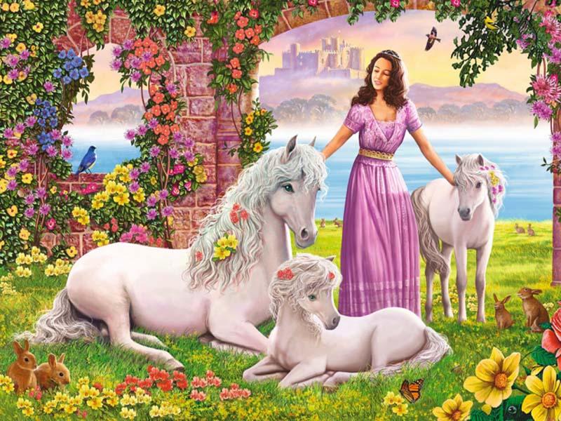 Пазл Собирать пазлы онлайн - Девушка и лошади