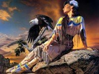 Собирать пазл Девушка и орел онлайн