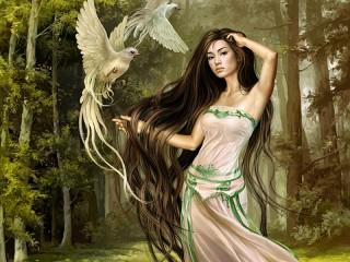 Собирать пазл Девушка и птицы онлайн