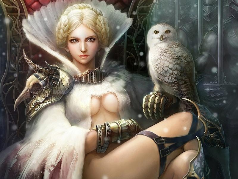 Пазл Собирать пазлы онлайн - Девушка и сова