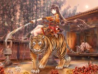 Собирать пазл Девушка и тигр онлайн
