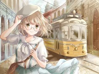 Собирать пазл Девушка и трамвай онлайн