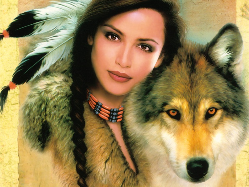 Пазл Собирать пазлы онлайн - Девушка и волк