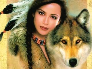 Собирать пазл Девушка и волк онлайн