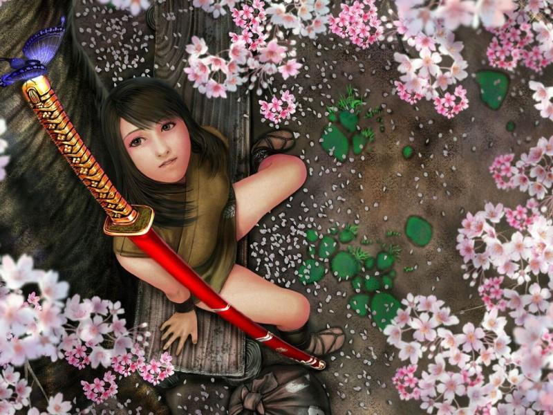 Пазл Собирать пазлы онлайн - Девушка под сакурой