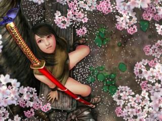Собирать пазл Девушка под сакурой онлайн