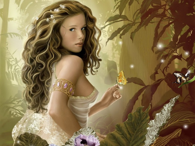 Пазл Собирать пазлы онлайн - Девушка с бабочкой