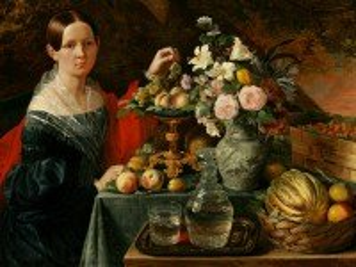 Собирать пазл Девушка с фруктами онлайн