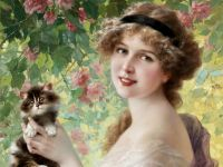 Собирать пазл Девушка с котенком онлайн