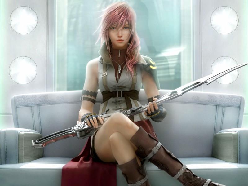 Пазл Собирать пазлы онлайн - Девушка с мечом