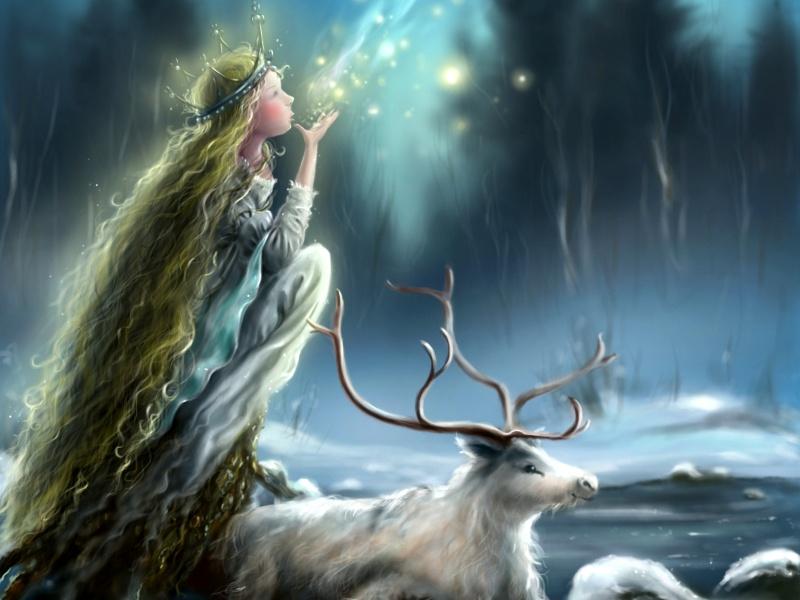 Пазл Девушка с оленем