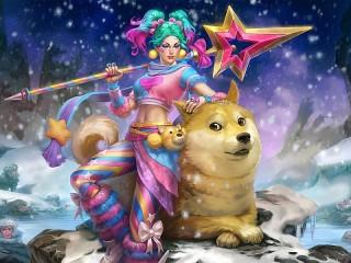 Собирать пазл Девушка с собакой онлайн