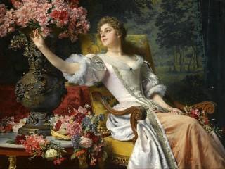 Собирать пазл Девушка с цветами онлайн