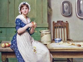 Собирать пазл Девушка с яблоком онлайн