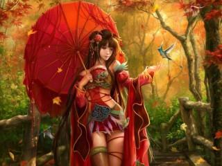 Собирать пазл Девушка с зонтиком онлайн
