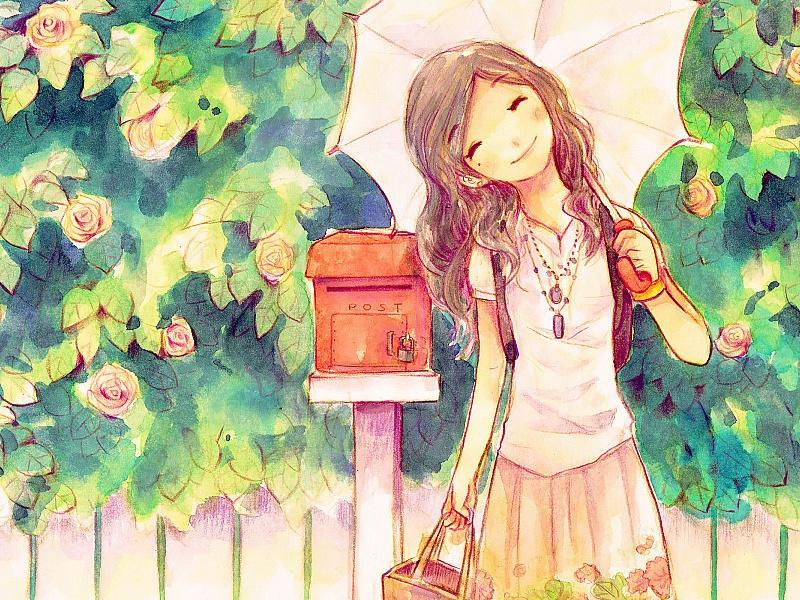 Пазл Собирать пазлы онлайн - Девушка с зонтом