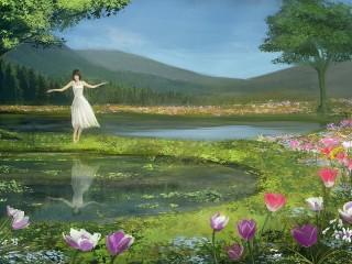 Собирать пазл Девушка у озера онлайн
