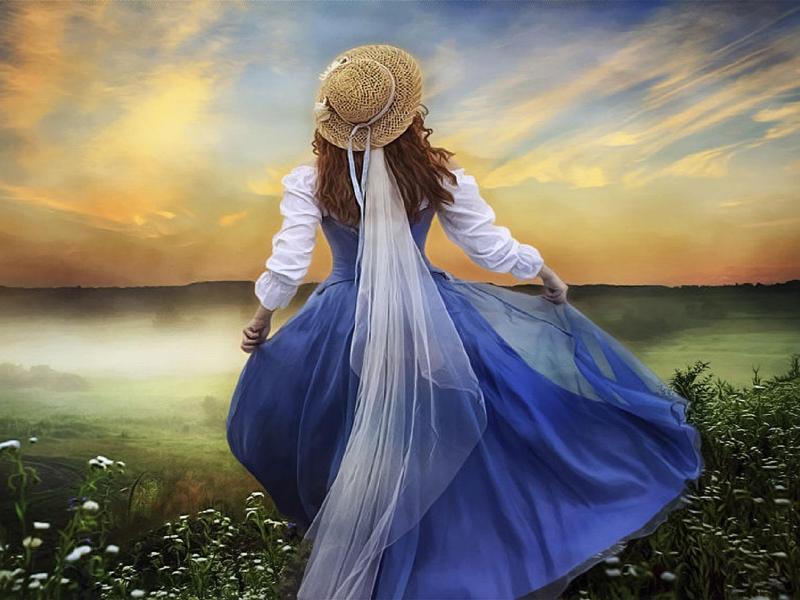 Пазл Собирать пазлы онлайн - Девушка в голубом