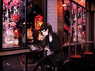 Собирать пазл Девушка в кафе онлайн