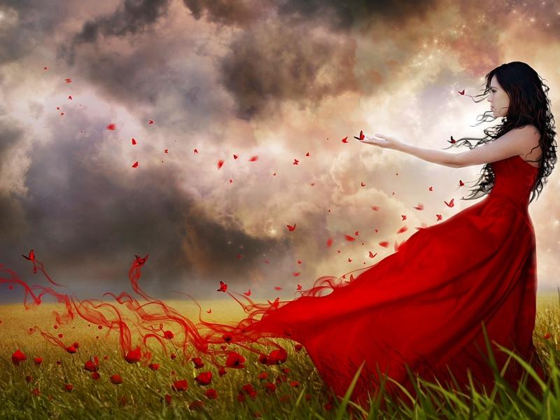Пазл Собирать пазлы онлайн - Девушка в красном