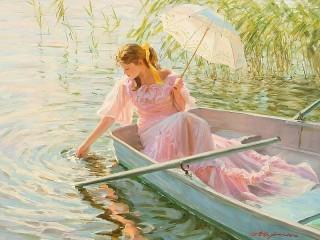 Собирать пазл Девушка в лодке онлайн
