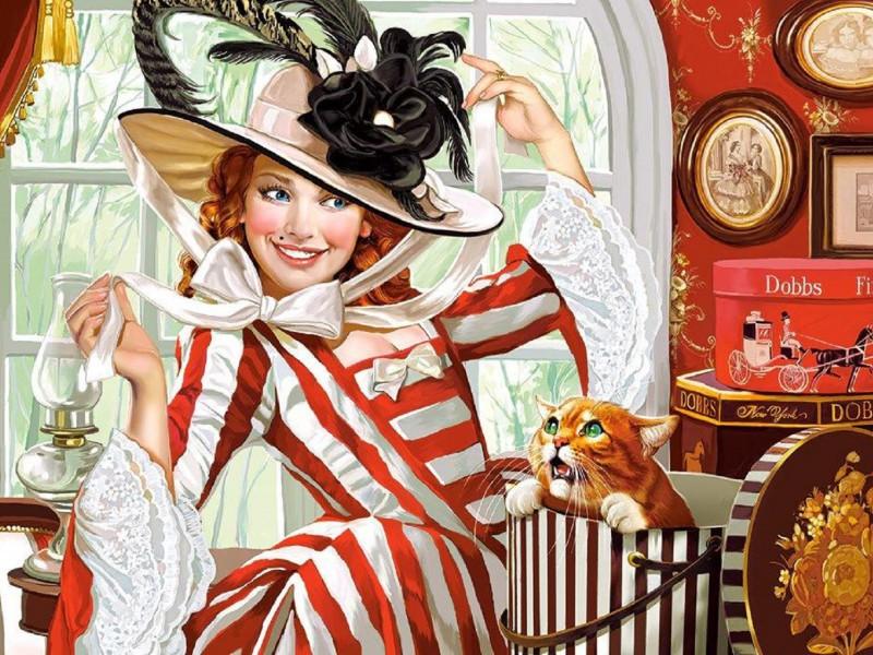 Пазл Собирать пазлы онлайн - Девушка в шляпке