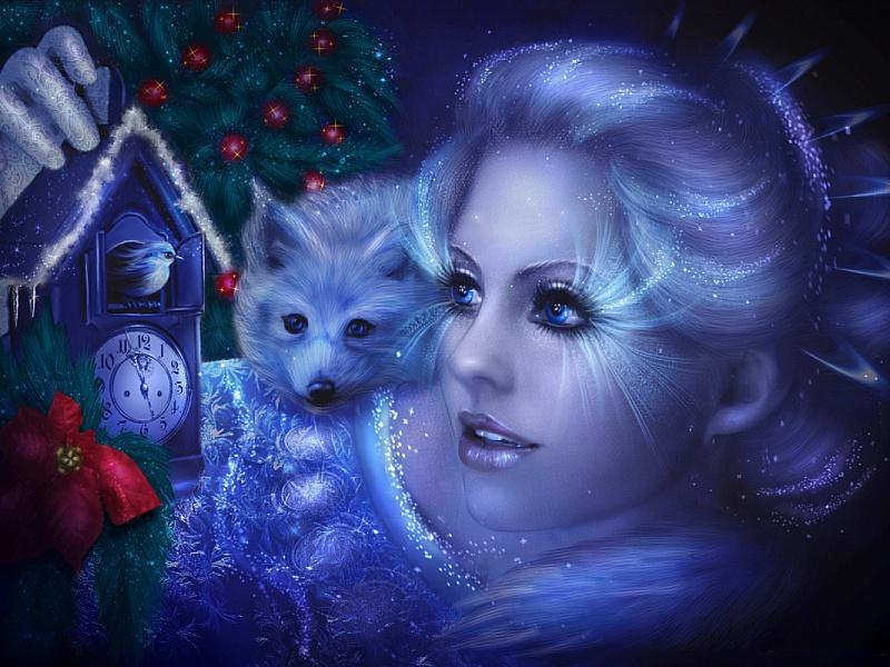 Пазл Собирать пазлы онлайн - Девушка Зима