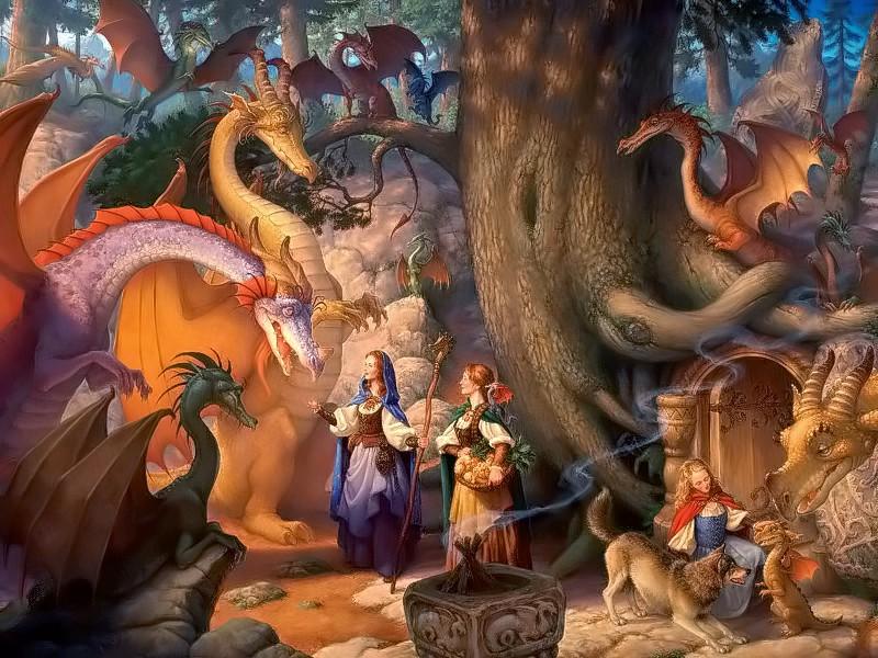 Пазл Собирать пазлы онлайн - Девушки и драконы