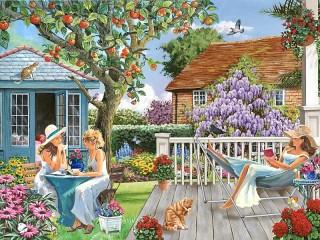 Собирать пазл Девушки в саду онлайн
