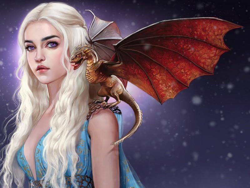Пазл Собирать пазлы онлайн - Дейенерис и дракон
