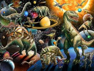 Собирать пазл Динозавры в космосе онлайн