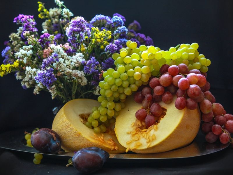 Пазл Собирать пазлы онлайн - Дыня виноград слива