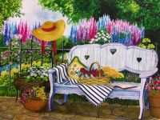 Собирать пазл Диванчик в саду онлайн