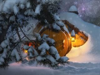 Собирать пазл Дом хоббита зимой онлайн