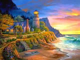 Собирать пазл Дом на берегу моря онлайн