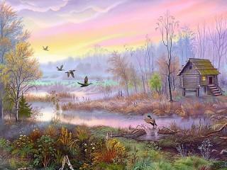 Собирать пазл Дом на болоте онлайн