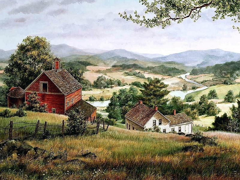 Открытки с домиком в деревне, днем