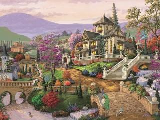 Собирать пазл Дом на холме онлайн
