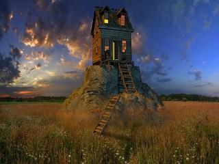 Собирать пазл Дом на камне онлайн