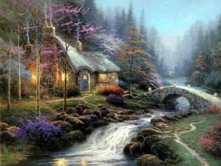 Собирать пазл Дом на краю леса онлайн