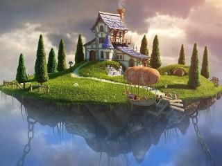 Собирать пазл Дом на острове онлайн