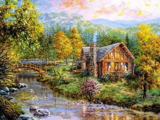 Собирать пазл Дом на реке онлайн