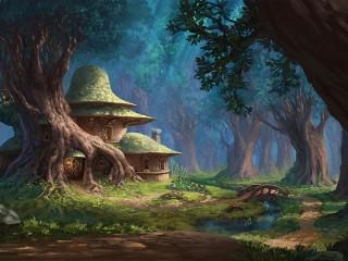 Собирать пазл Дом под деревом онлайн