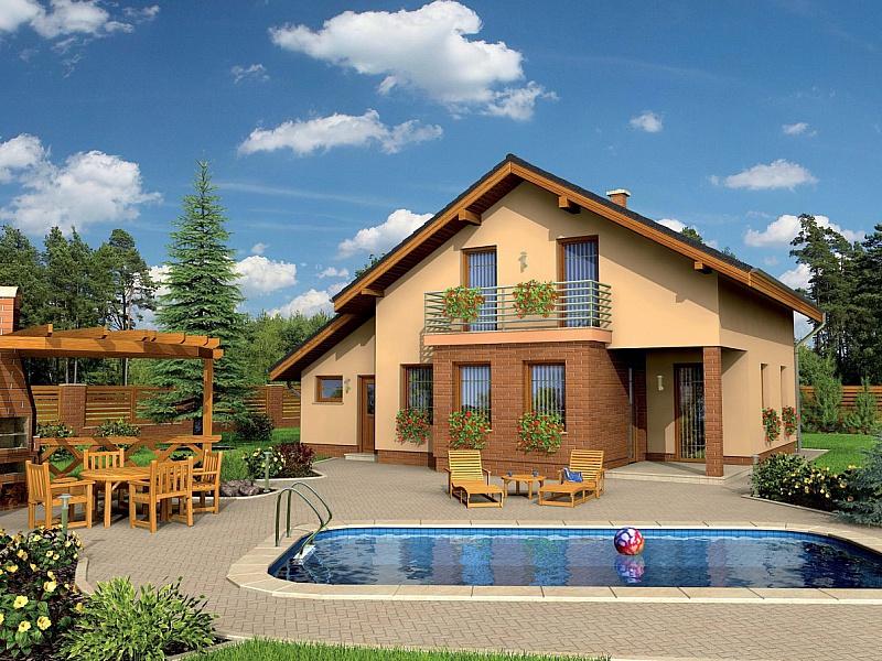 Пазл Собирать пазлы онлайн - Дом с бассейном