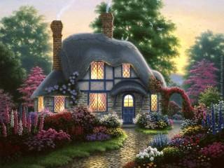 Собирать пазл Дом с садом онлайн